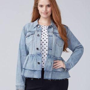 NWT Denim Ruffle Jacket ~ Size 16